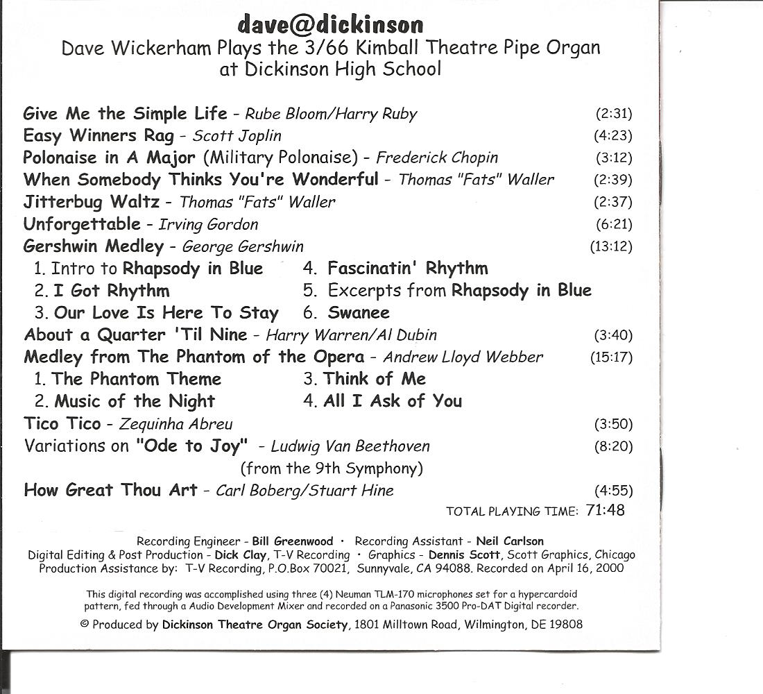 Dave@Dickinson CD - Music Titles