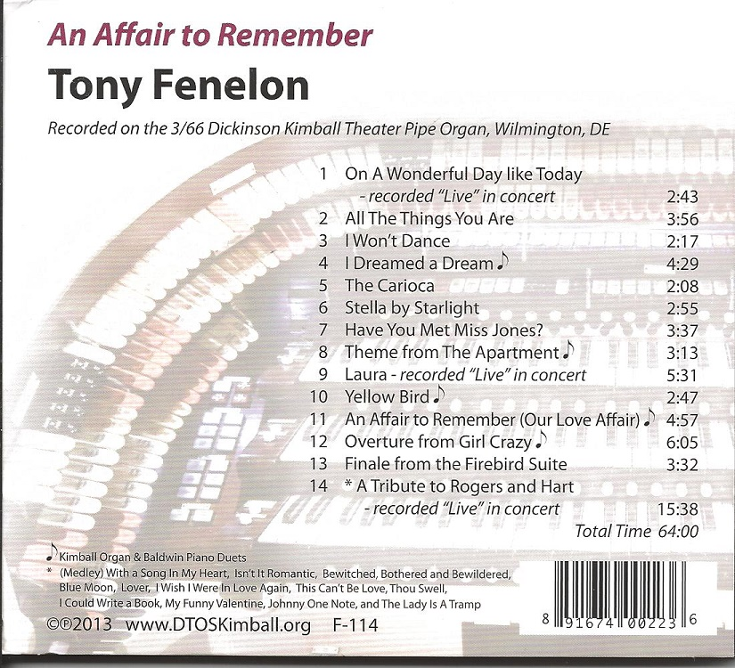 Tony Fenelon CD - Music Titles
