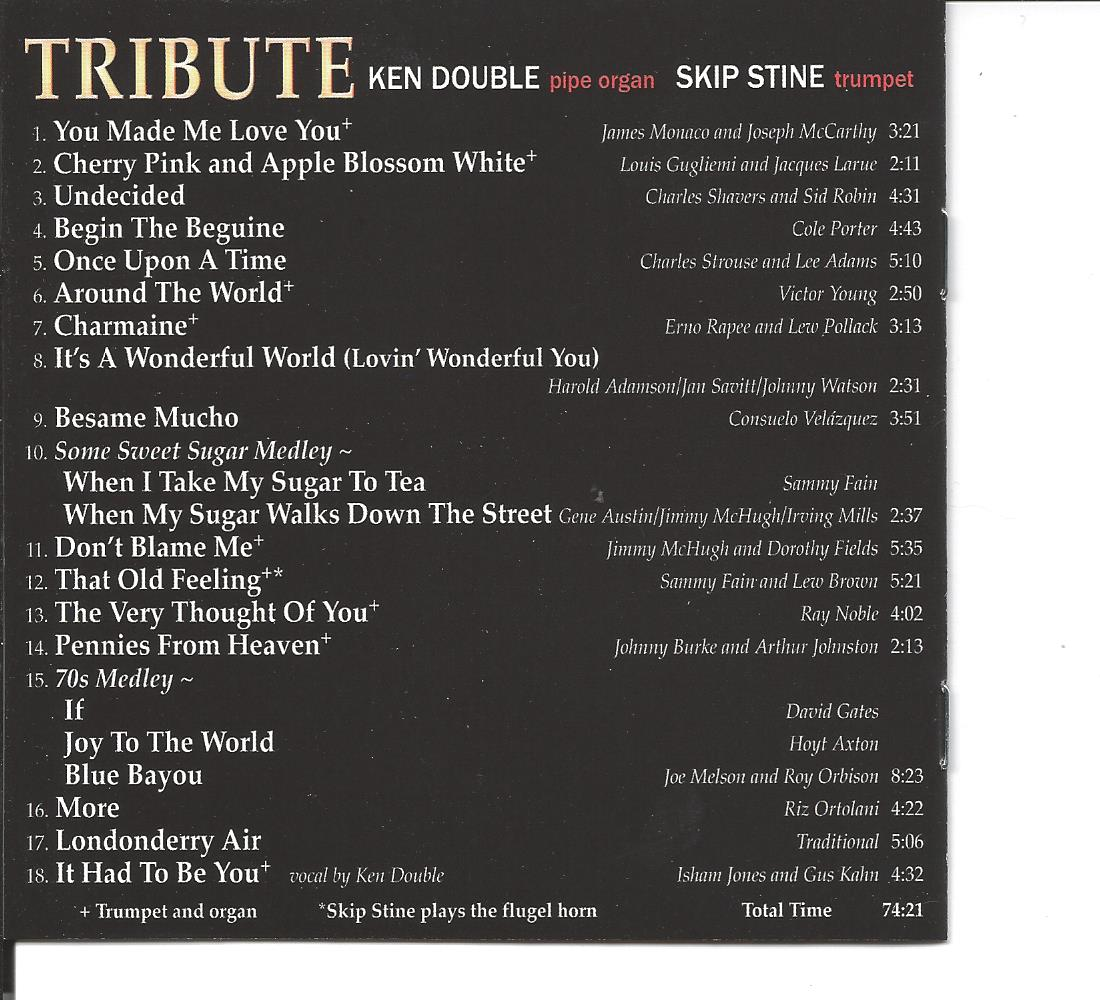 Tribute CD - Music Titles