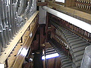Vox Humana (left) and Marimba/Harp (right); tops of the wooden pipes in the bottom rear are the 16' Diaphones.