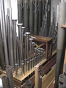 Saxophone pipes in foreground made by Trivo reeds in Maryland especially for this organ.  Funds were provided by Lyn Larson.